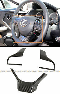 FOR 2016-2020 LEXUS GS RX ES CARBON FIBER STEERING WHEEL ADD-ON TRIM COVER KIT
