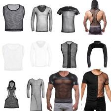NEW Men's Mesh T-shirt Gym Training Tank Top Fish Net Sports Clothing Underwear