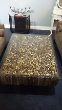 Glass Coffee Table with Driftwood Base / sticks / logs