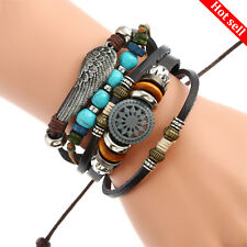 Unisex Mens/Ladies Surf Adjustable Leather Bracelet Braided Wristband Bangle UK