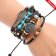 Unisex Mens/Ladies Adjustable Leather Bracelet Braided Wristband Bangle GIFT UK