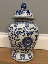 China Oriental Style Urn Vase Ginger Jar Blue White Floral