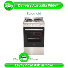 Tiny Home Euromaid EFF54SS 54cm Stove Cooker Electric Oven Solid Cooktop Grill