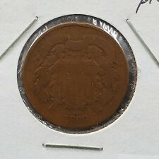 1868 2C Two Cent Copper Coin Piece Choice AG About Good / Good Circ