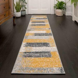 Ochre Yellow Grey Striped Hallway Runners Long Narrow Modern Hall Runner Rugs UK