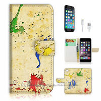 ( For iPhone 7 ) Wallet Case Cover P1140 Abstract Paint