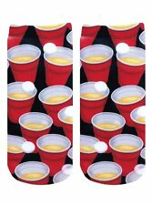 BEER SOCKS FUNNY RED SOLO CUP PING PONG UNISEX MADE USA HIGH QUALITY