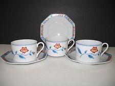 Fitz & Floyd JARDIN DE CHINE Set of 3 Cups & Saucers EUC Multi Avail