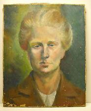 Portrait d'homme de face huile sur toile non-signée vers 1900 ou avant 41 cm