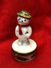 Limoges France Box ~Christmas~ Snowman & Scarf & Broom & Pipe ~Holly~ Peint Main