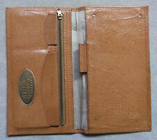 VINTAGE TAN LEATHER BI FOLD WALLET ID CARDS 1960s 1970s MOD BASSET & FINDLEY LTD