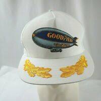 Vintage Goodyear #1 in Tires Baseball White Hat Blue Blimp Cap Snapback USA Made