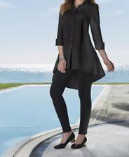 Women's Black Casual Business Day night Cotton Shirt top blouse tunic plus 1X 2X