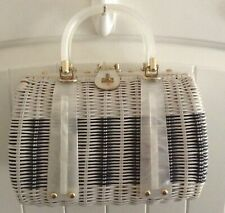 Vintage Mid-Century Wicker & Lucite Purse Crown Colony Hong Kong