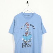 Vintage WE LOVE FINE Cool Story Bro Cat In the Hat Big Logo T Shirt Blue | XL