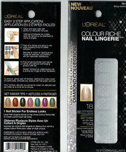 L'Oreal Colour Riche Nail Lingerie 18pc 3D Nail Stickers Diamond Collection