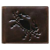 Unique Bi-Fold Brown Genuine Leather Wallet ID Credit Card Holder Zodiac CANCER