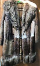 70's Vintage Muskrat fur coat, raccoon collar and bottom trim, 3 button