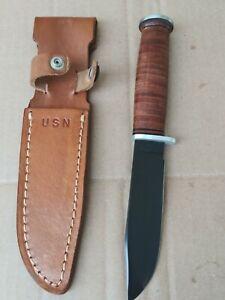 Western U.S. Navy L71 Seabee Fighting, Utility Knife w/ Scabbard Vintage