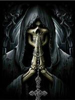 5D Full Diamond Painting God Death Skull Cross Pray Home Decor Handicraft 6429X