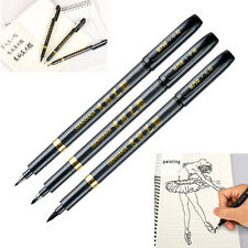 3x Chinese Calligraphy Brush Pen S/M/L Script Nib Draw Art Water Based Black Ink