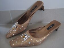 DKNY GENUINE LEATHER STRAPPY CLOSED TOE SHOES IN BRONZE SIZE 7, 7.5, 41 PARTY