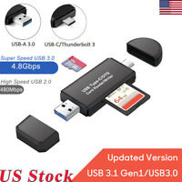 USB 2.0/3.0 SD Card Reader USB Type C SD/Micro SD Card Reader OTG Adapter USA