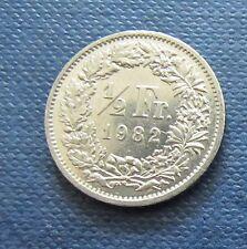 Münze 1/2 Schweizer Franken 1982 aus Umlauf gültiges Zahlungsmittel Sammler