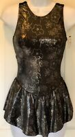 GK FIGURE SKATE BLACK ICE FLORA ADULT SMALL FOIL FROST TRICOT SLVLS DRESS AS NWT
