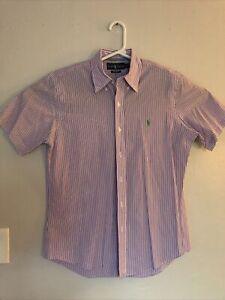 Ralph Lauren RL Pony Striped Button Up Men's SS Shirt Top Sz M Casual Office