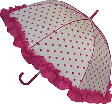 Blooming brollies BOUTIQUE A Pois Con Volant STICK OMBRELLO-Rosa