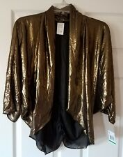 $49 NWT MSK Gold Womens Open Front Metallic Shrug Jacket Top Size L Large