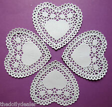 WHITE PAPER LACE ROSE LATTICE DOILY HEART DOILIES 4 INCHES X 10