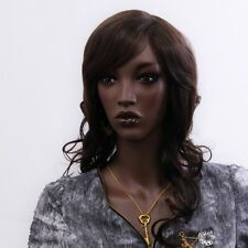 PERRUQUE LUXE SEXY ADULTE FEMME CHEVEUX LONGS BRUNE WIGS COIFFURE AFRO BLACK
