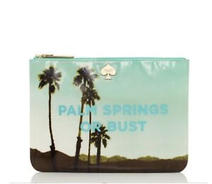 NWT⭐KATE SPADE Gia PALM SPRINGS OR BUST Pouch Clutch Bag Organizer Mask Trees