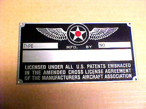 Aircraft Data Plate for Vintage Airplanes Acid Etched Aluminum 1930s - 1950s ?