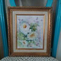 Vintage 12 x 14 framed shabby chic pastel floral painted ceramic tile