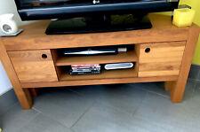 Solid Oak TV Unit - Wooden Media Cabinet With Shelves 2 Door