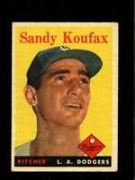 1958 TOPPS #187 SANDY KOUFAX VG+ DODGERS HOF *SBA1264