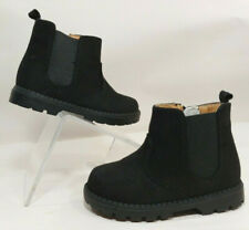New H&M Warm Ankle Boots BLACK Fabric Suede Side Zip Toddler Boy or Girl 6C, 22