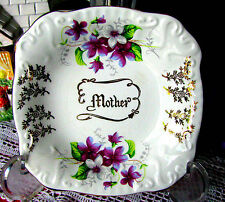 Aynsley Violets Mother Jewelry Tray, Antique Violets Pin Dish c.1891-1905