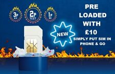 *£10 POUNDS PRELOADED O2 PAY AS YOU GO SIM CARD WITH £10 CREDIT NEW