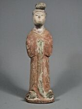 China Chinese Ming Dynasty Polychrome Pottery Female Tomb Attendant ca 1368–1644
