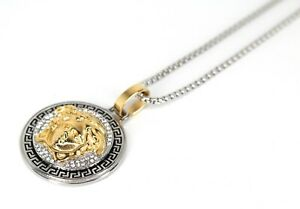 "Platinum Diamond Jewellers TWO TONE ""MEDUSA"" 3ct  Lab Sim. VVS1 Diamond Pendant"