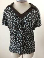 APT 9 stretch knit top size XL short sleeves blue brown