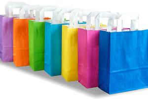 Bunte Papiertragetaschen Papiertüten Tragetaschen 7 Farben 18x8x22 Papierbeutel