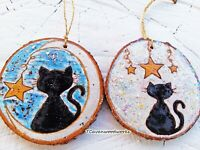 Black Cats Celestial Moon Stars Hand Painted Pyrography Wood Slice Art Ornaments