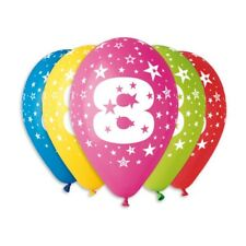 Balloons with 8th Birthday print, Ages from 1 to 60 Pack of 10, Assorted colours