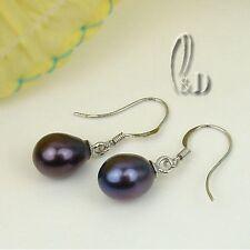 AU Seller Black Genuine Pearl Sterling Silver Earrings 04018-3