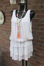 Kleid Strand Trägerkleid Sommer Hippie Ibiza Weiß Volant Süß 36-38 Lagenlock